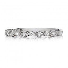 Henri Daussi White Gold Half Way Pave Diamond Band