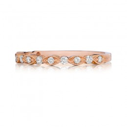 Henri Daussi Rose Gold Half Way Diamond Band