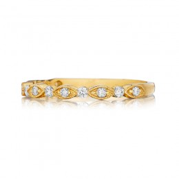 Henri Daussi Yellow Gold Half Way Pave Diamond Band