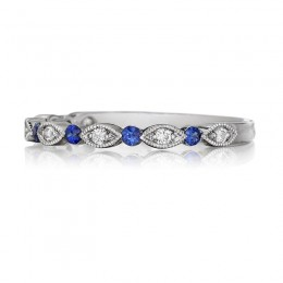 Henri Daussi White Gold Sapphire And Diamond Band