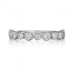 Henri Daussi White Gold Half Way Diamond Bezel Set Band