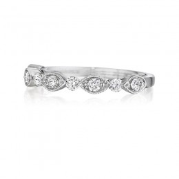 Henri Daussi White Gold Pave Band