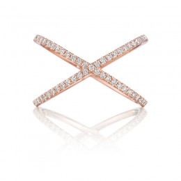Henri Daussi Rose Gold Criss-Cross Diamond Ring