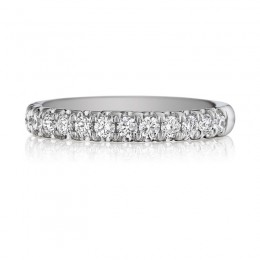 Henri Daussi White Gold Half Way Diamond Band