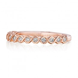 Henri Daussi Rose Gold Pave Diamond Band