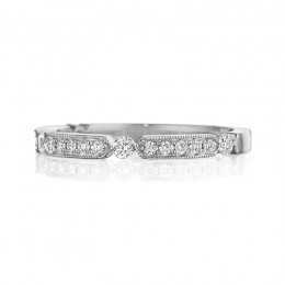 Henri Daussi White Gold Pave Set Diamond Band