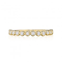 Henri Daussi Yellow Gold Half Way Diamond Band