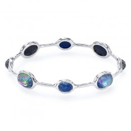 IPPOLITA Rock Candy® 8-Stone Bangle in Clear Quartz rock crystal, Mother-of-Pearl- Onyx