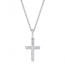 0.06ct 14k White Gold Diamond Cross Necklace