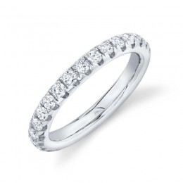1.21ct 14k White Gold Diamond Eternity Band Size 7