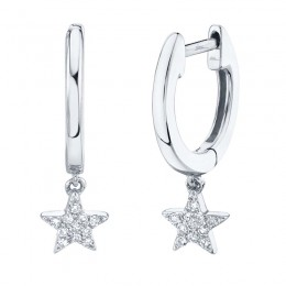 0.04ct 14k White Gold Diamond Star Huggie Earring