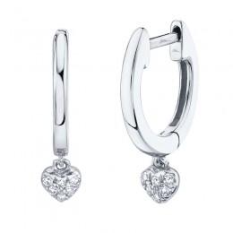 0.04ct 14k White Gold Diamond Pave Heart Huggie Earring