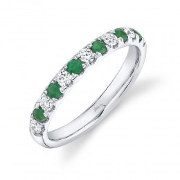0.30ct Diamond and 0.30ct Emerald 14k White Gold Lady