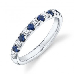 0.30ct Diamond and 0.30ct Blue Sapphire 14k White Gold Lady