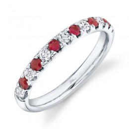 0.30ct Diamond and 0.30ct Ruby 14k White Gold Lady