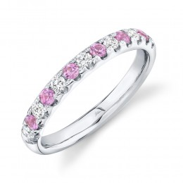 0.30ct Diamond and 0.30ct Pink Sapphire 14k White Gold Lady