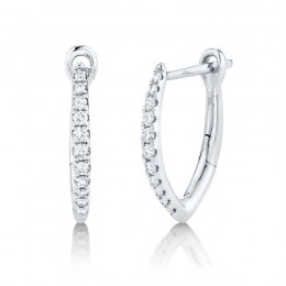 0.15ct 14k White Gold Diamond Hoop Earring