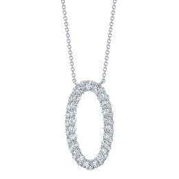 1.33ct 14k White Gold Diamond Oval Necklace