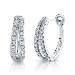 0.40ct 14k White Gold Diamond Oval Hoop Earring
