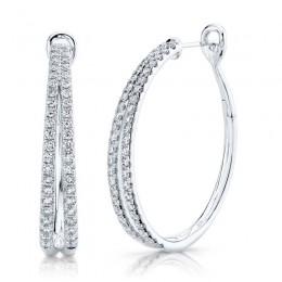 1.76ct 14k White Gold Diamond Oval Hoop Earring