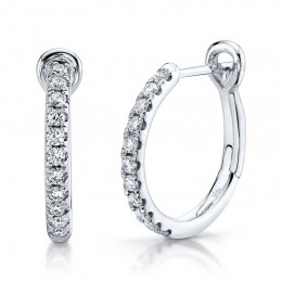 0.26ct 14k White Gold Diamond Hoop Earring