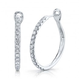 0.74ct 14k White Gold Diamond Hoop Earring
