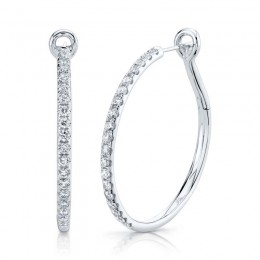 1.50ct 14k White Gold Diamond Hoop Earring