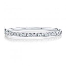 3.04ct 14k White Gold Diamond Bangle