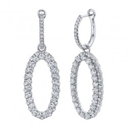 3.00ct 14k White Gold Diamond Oval Earring