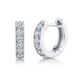 0.39ct 14k White Gold Diamond Huggie Earring