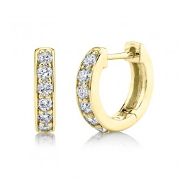0.39ct 14k Yellow Gold Diamond Huggie Earring