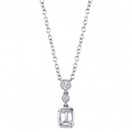 0.23Ct Diamond Emerald Necklace