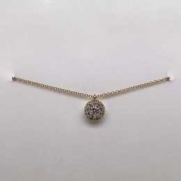 0.10Ct-Ctr(Round) 0.13Ct-Side Diamond Cluster Necklace