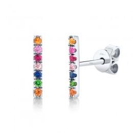 0.17ct 14k White Gold Multi-color Stone Bar Stud Earring