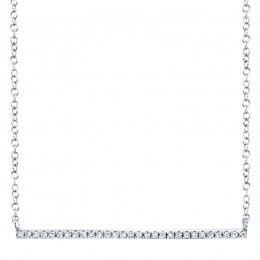 0.08ct 14k White Gold Diamond Bar Necklace