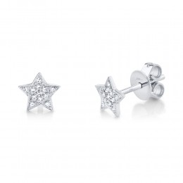 0.07ct 14k White Gold Diamond Star Stud Earring