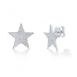 0.53ct 14k White Gold Diamond Star Stud Earring