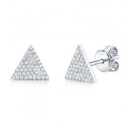 0.24ct 14k White Gold Diamond Pave Triangle Stud Earring