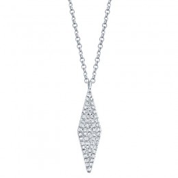 0.17ct 14k White Gold Diamond Pave Necklace