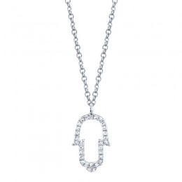 0.08ct 14k White Gold Diamond Hamsa Necklace