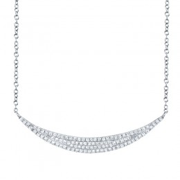 0.25ct 14k White Gold Diamond Pave Crescent Necklace