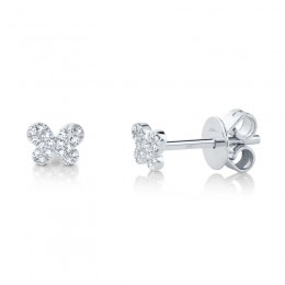 0.07ct 14k White Gold Diamond Pave Butterfly Stud Earring