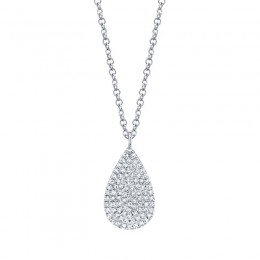 0.19ct 14k White Gold Diamond Pave Necklace