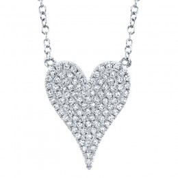 0.21ct 14k White Gold Diamond Pave Heart Necklace