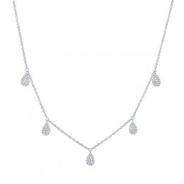 0.27ct 14k White Gold Diamond Pave Necklace