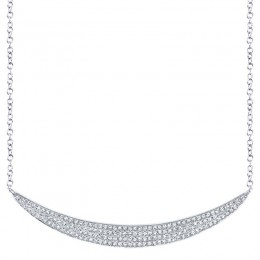 0.42ct 14k White Gold Diamond Pave Crescent Necklace