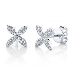 0.16ct 14k White Gold Diamond Flower Stud Earring