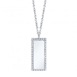 0.11ct 14k White Gold Diamond Bar ID Necklace