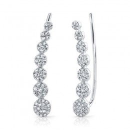 0.25ct 14k White Gold Diamond Ear Crawler Earring
