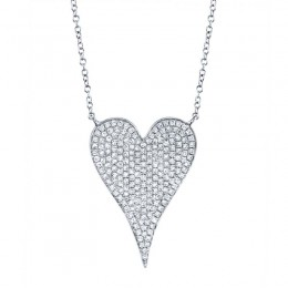 0.43ct 14k White Gold Diamond Heart Necklace